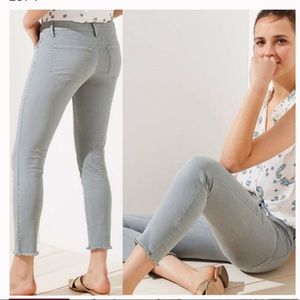 Loft Skinny Sage Green Frayed Hem Jeans